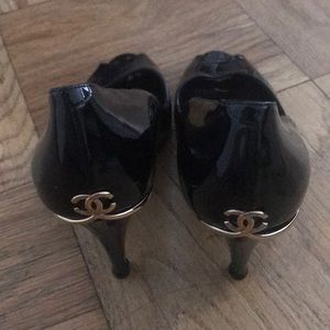 Patent leather classic black Chanel peep toes